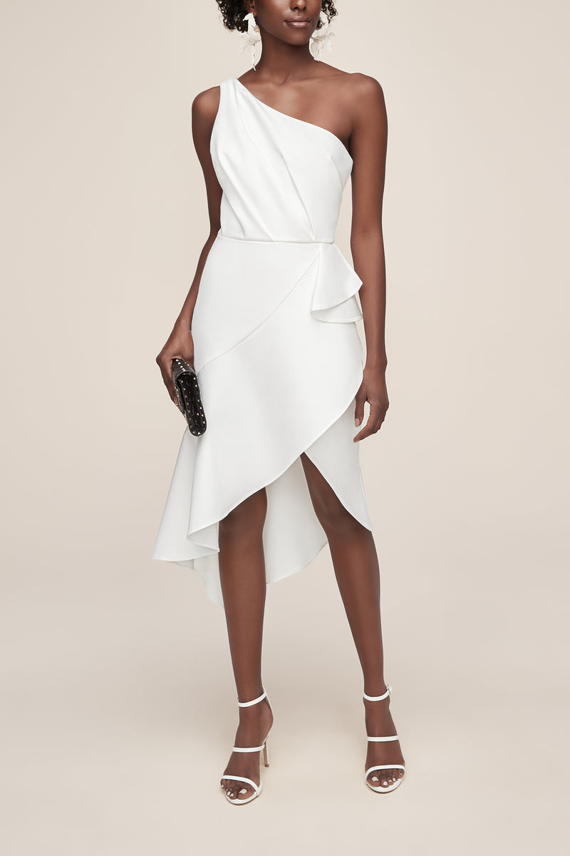modern minimalistic one shoulder stretch crepe dress