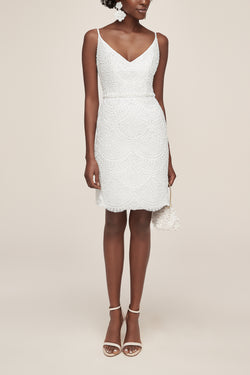 Beaded white dress for wedding celebration