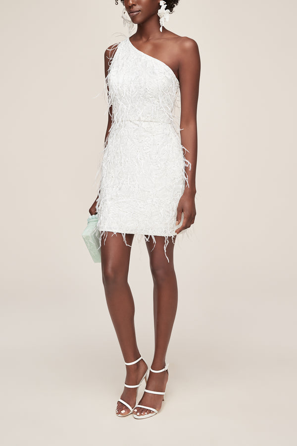 Feathered one shoulder white dress