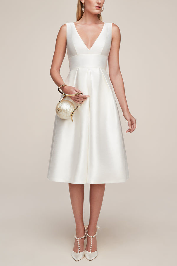 midi classic white formal dress with pockets