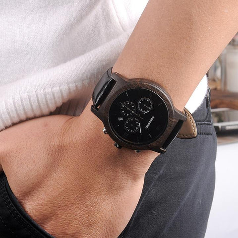 Montre en bois all black