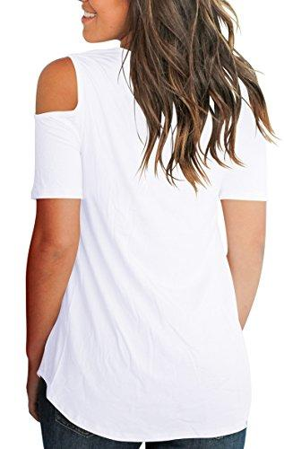 4e6a7f369bc01 Cold Shoulder Tunic Tops for Women Plus Size 2018 Tee Shirts Cotton White  2XL