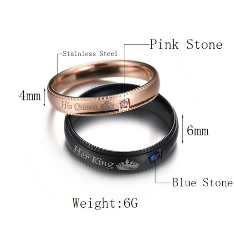 Her King His Queen Stainless Steel Wedding Rings - White Bear Store