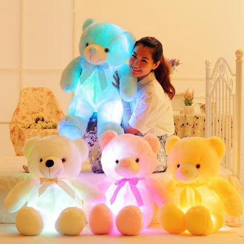 Light Up Colorful Glowing Teddy Bear Christmas Gift for Kids - White Bear Store