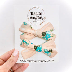 Boho Florals - Pigtail School Girl Bow Set