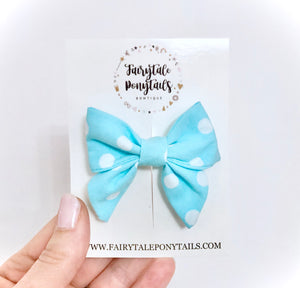Blue Polka Dot - Mini Sailor Bow Clip