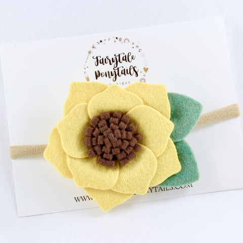 Sunflower Felt Flower Headband