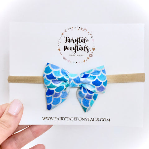 Mermaid Scales - Mini Sailor Bow Headband