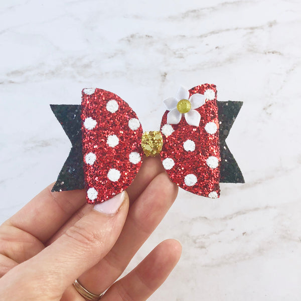 Minnie Mouse Hair Bow - Glitter Hair Bow