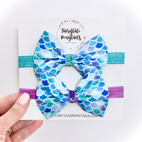 Mermaid Scales Bow Headband for Baby