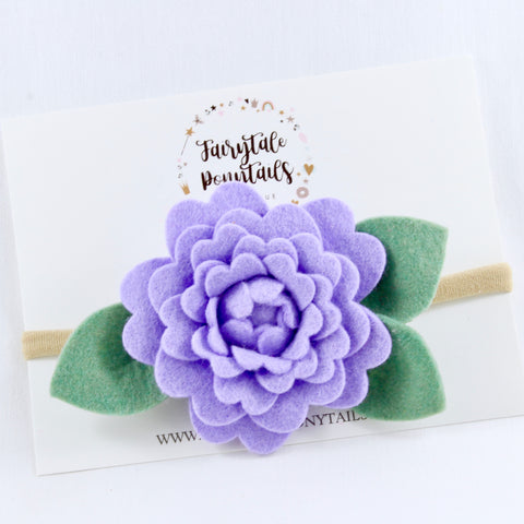 Purple Felt Flower Headband