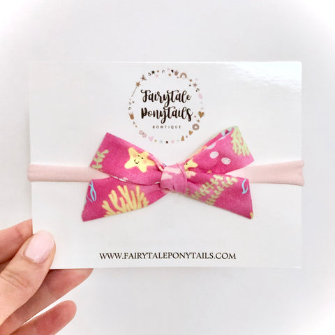 Under the Sea, Pink - School Girl Bow Headband