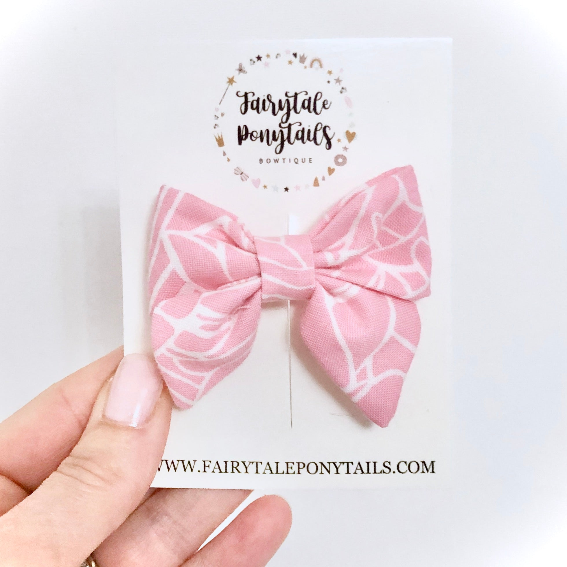 Pink Marble - Mini Sailor Bow Clip