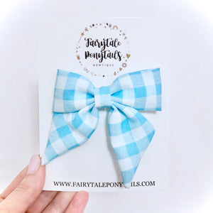 Blue Gingham - Oversize Sailor Bow Clip