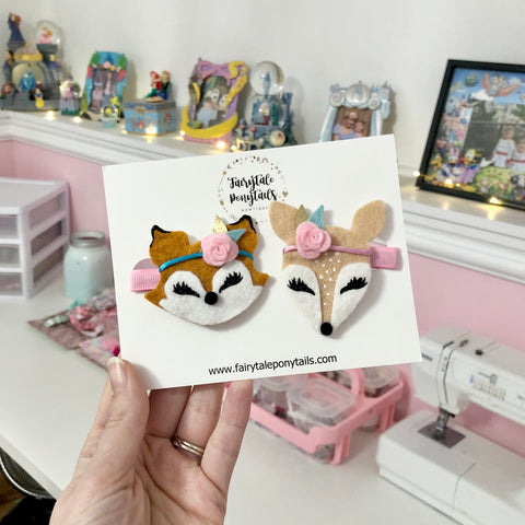Deer and Fox Hair Clips