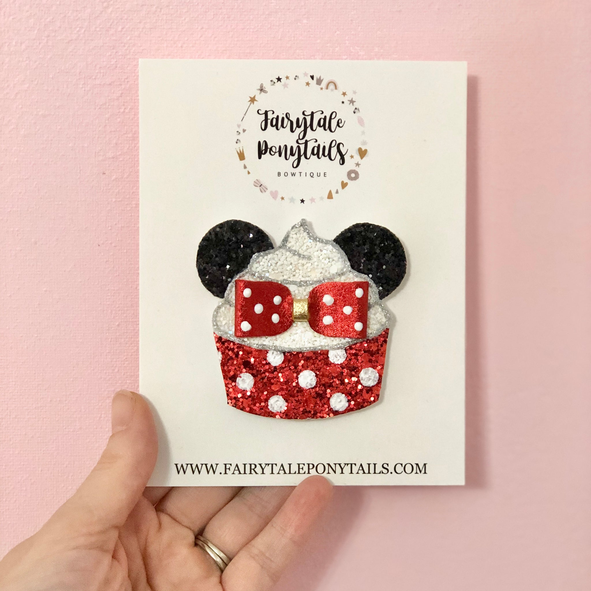 Minnie Cupcake - Hair Clip - Brooch - French Barrette - Made by Fairytale Ponytails