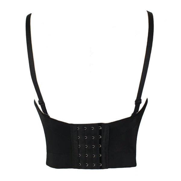 Diamond Pearls Sexy Black Bustier Crop Top - FANCYMAKE
