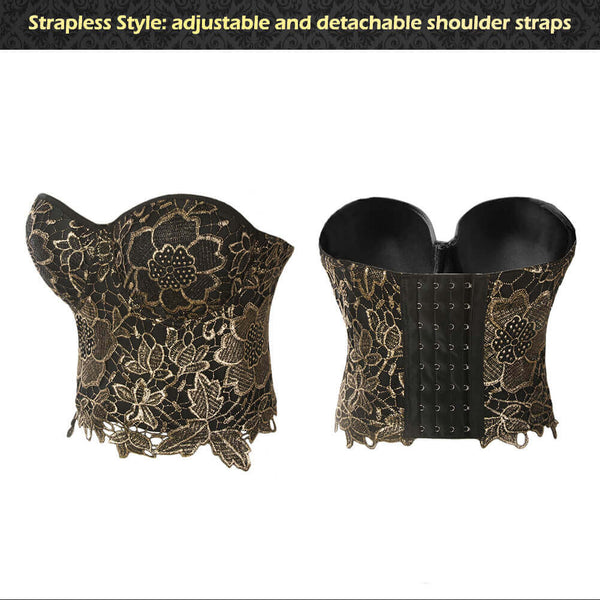 Bronzing Embroidery Lace Bustier Corset Top - FANCYMAKE