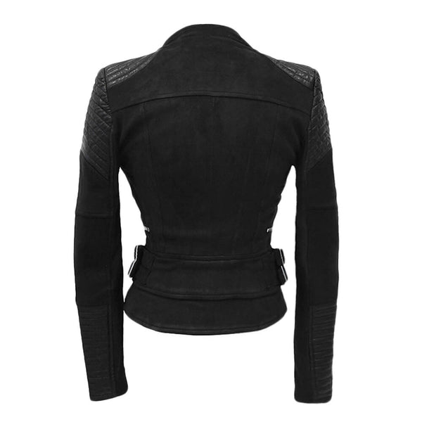 Faux Suede Leather Jacket Women Coat Moto Jackets - FANCYMAKE