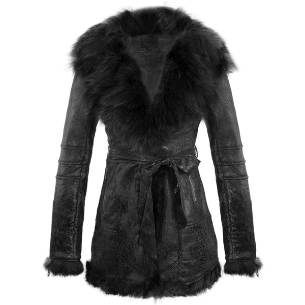 Natural Fox Fur Fleece Slim Fit Long Coat - FANCYMAKE