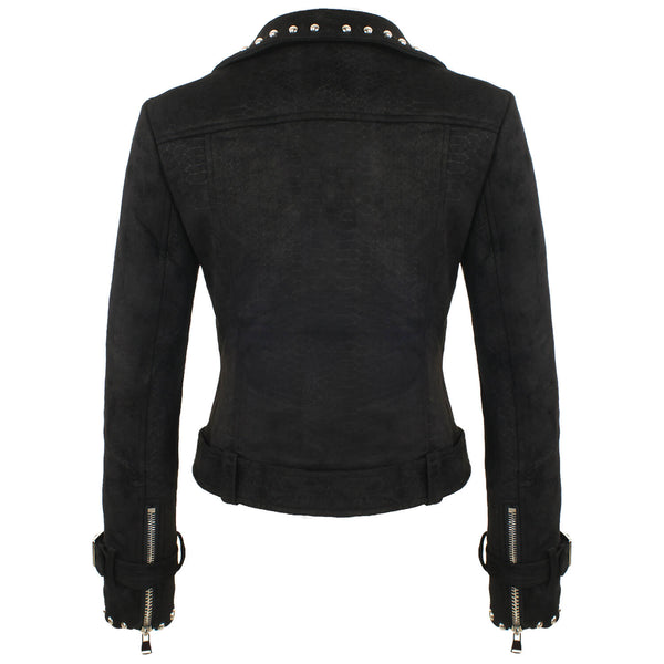 Suede Rivets Punk Motorcycle Coat Jacket - FANCYMAKE