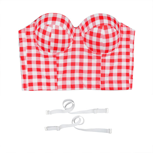 Women's Plaid Bustier Crop Top Sexy Women's Corset Top Bra Red - FANCYMAKE