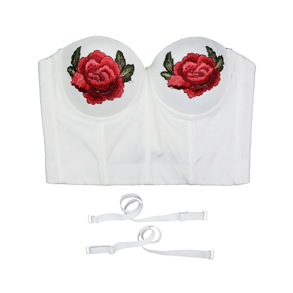 Women Embroidery Rose Smooth Bustier Crop Top Corset with Detachable Straps - FANCYMAKE