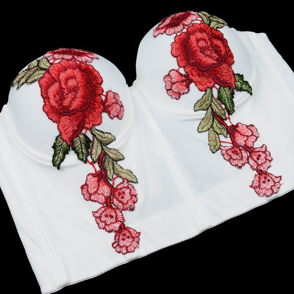 Women's Embroidery Floral Sexy Bustier Crop Top Smooth Corset Bra Tops White - FANCYMAKE