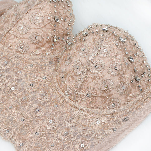 Nude Pearls Diamond Lace Crop Top Tank Tops - FANCYMAKE