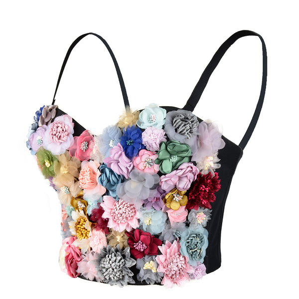 Women's 3D Floral Bustier Crop Top Wedding Bra - FANCYMAKE