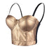 PU Leather Bustier Crop Top Gothic Punk Push Up Women's Corset Top Bra Gold - FANCYMAKE