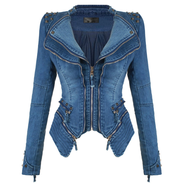 Denim Jeans Slim Fit Studded Jacket - FANCYMAKE