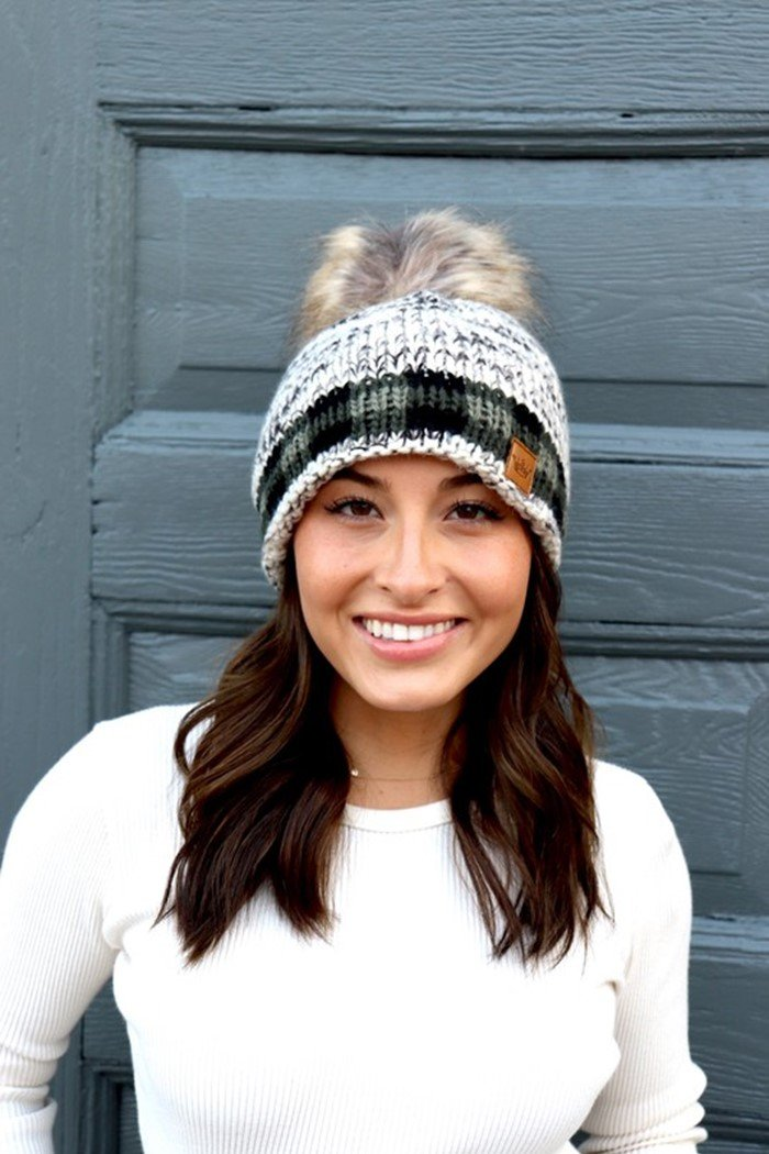 Green Plaid Pom Beanie