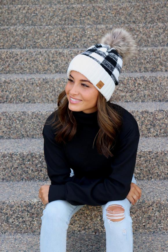 Black And White Buffalo Plaid Pom Beanie