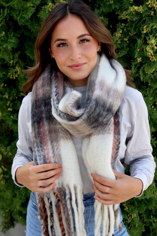 Cream Plaid Fringe Scarf | FINAL SALE