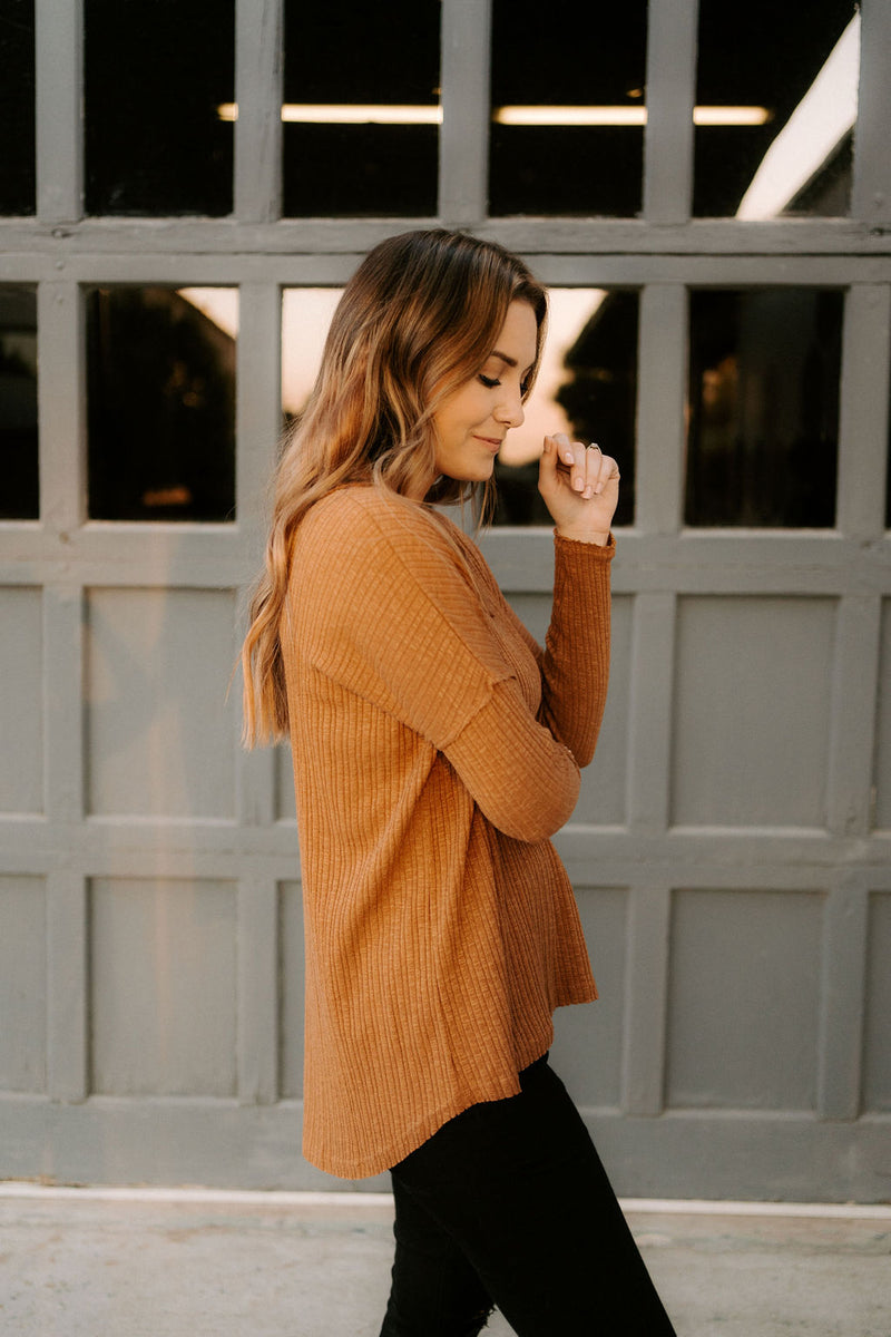 Crossroads Thermal Knit Top- Camel