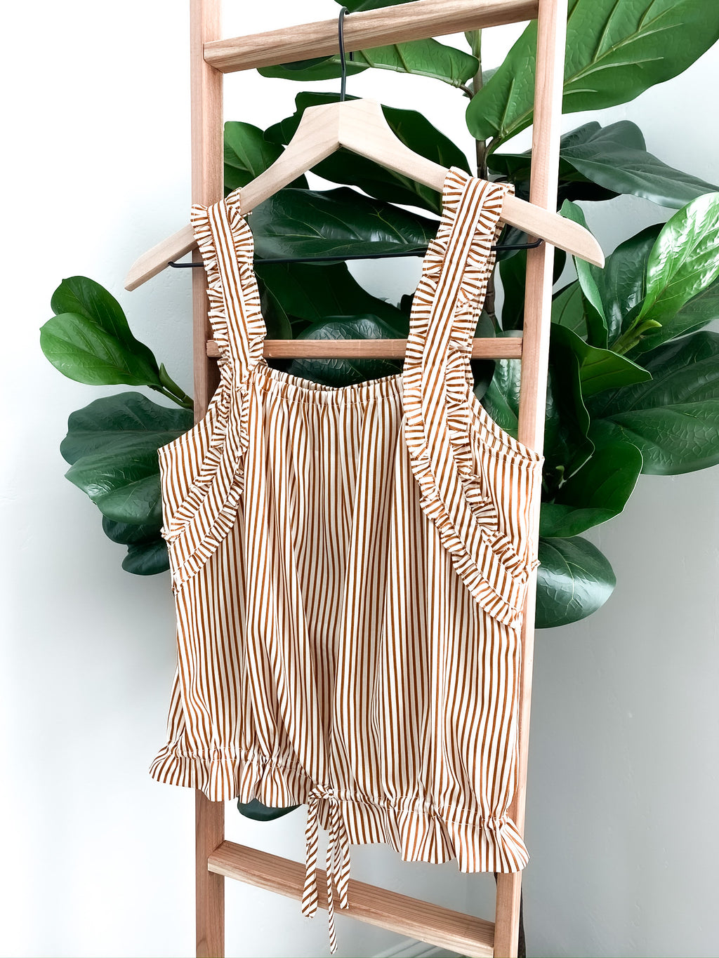 Everly Ruffle Strap Tank - Striped | FINAL SALE