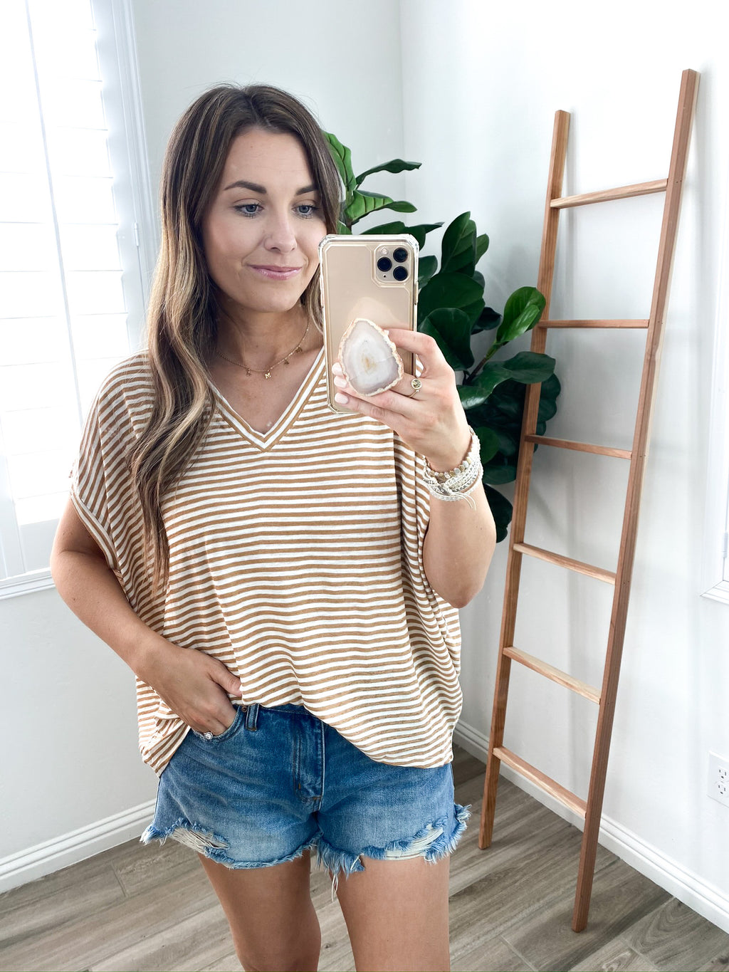 Oversized Striped Shirt- Taupe