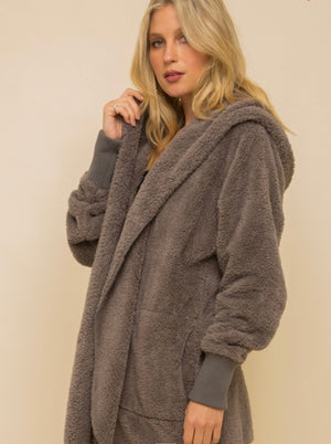 Harlyn Faux Fur Hooded Jacket- Steel Grey