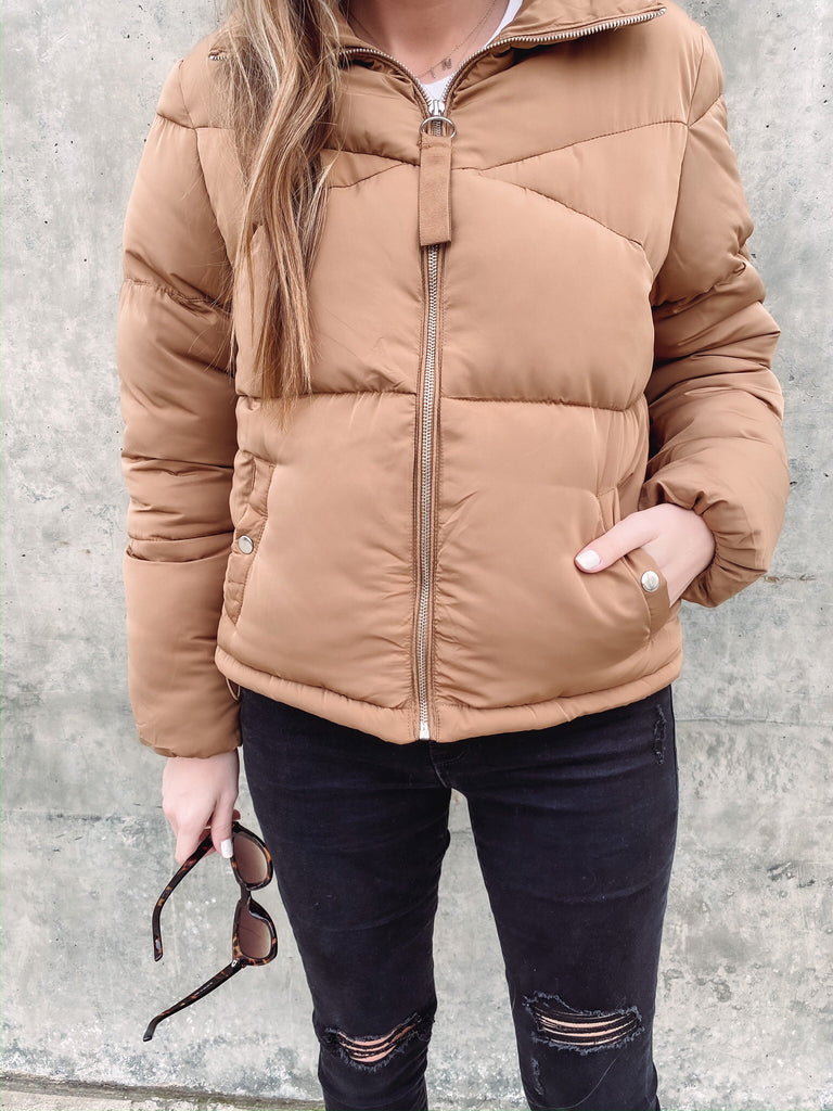 Finders Keepers Camel Puffer Jacket