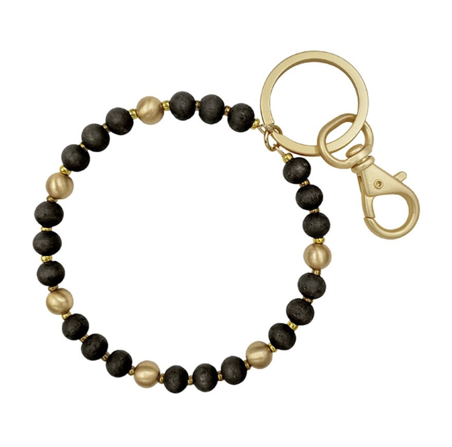 Beaded Key Ring -Black
