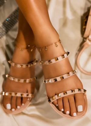 Stevie Studded Sandals - Nude | FINAL SALE
