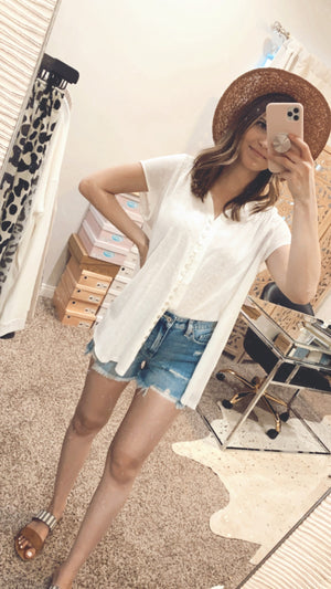 Catalina White Button Down Top