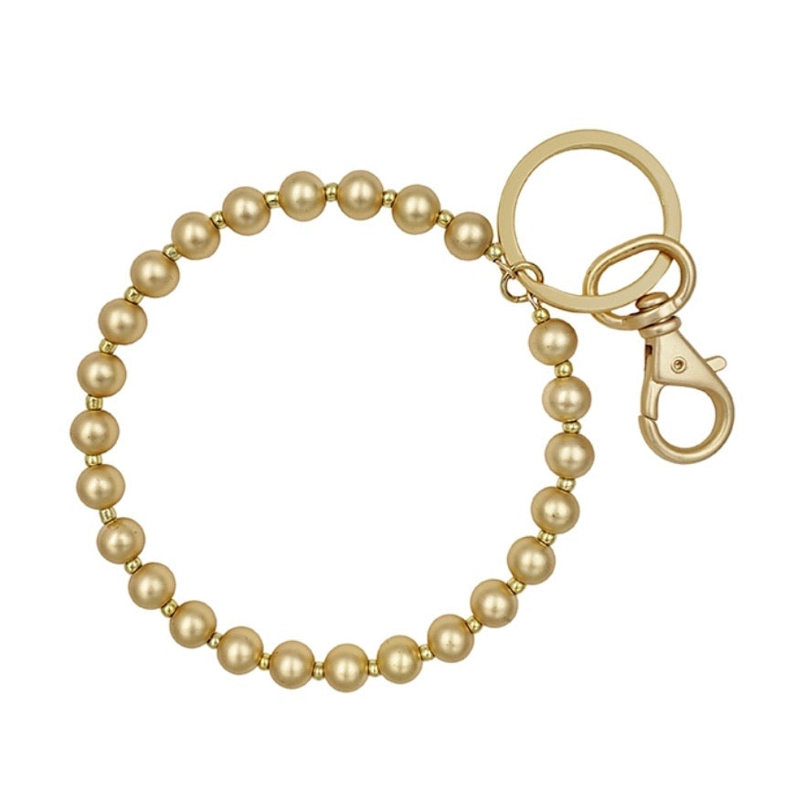 Beaded Key Ring -Matte Gold