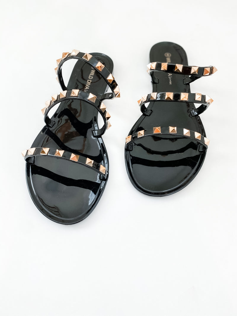 Stevie Studded Sandals - Black