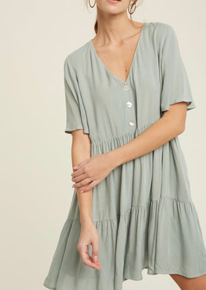 Button Down Tiered Dress