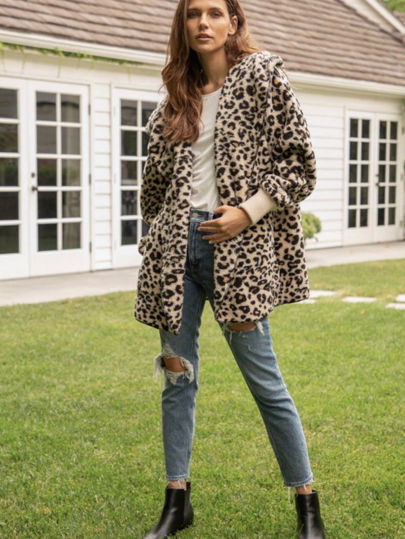 Harlyn Faux Fur Hooded Jacket- Leopard