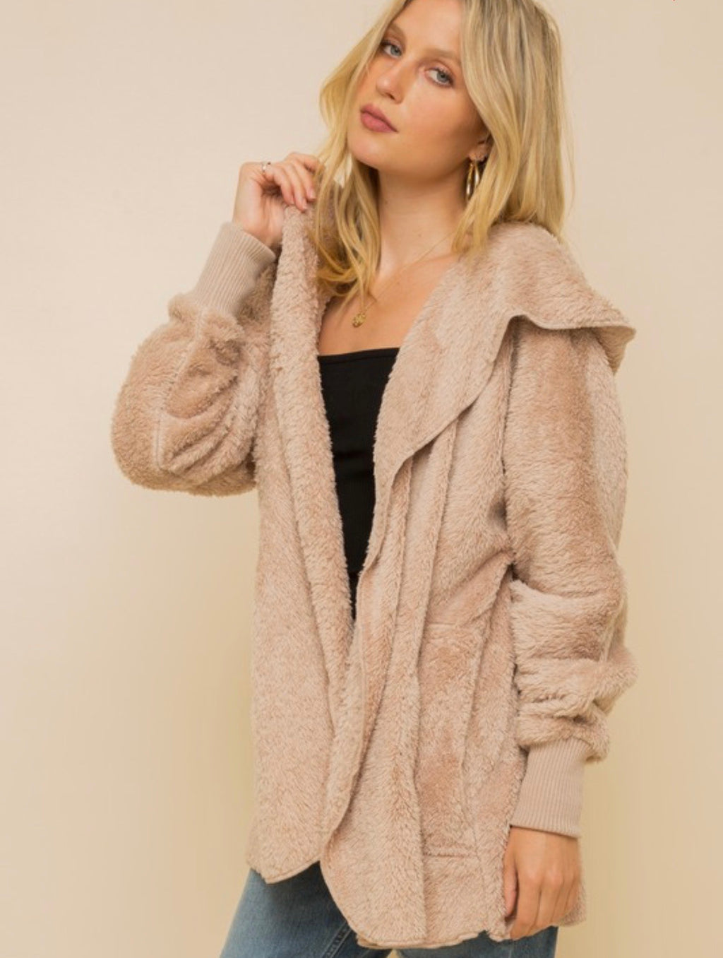 Harlyn Faux Fur Hooded Jacket- Taupe