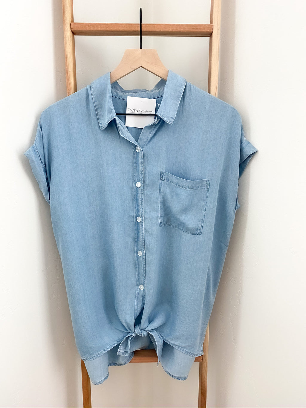 Maine Chambray Button Down Top