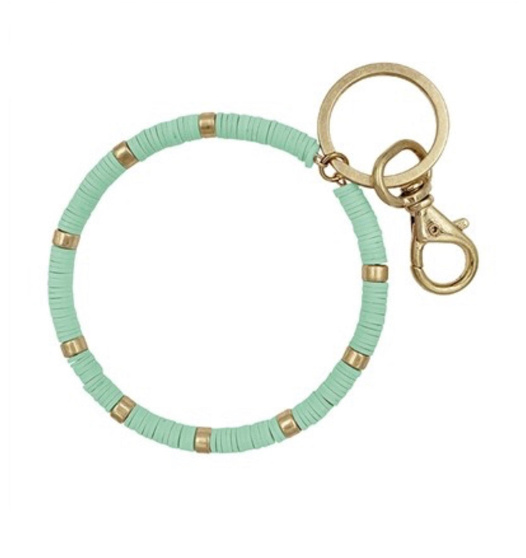 Beaded Key Ring -Mint